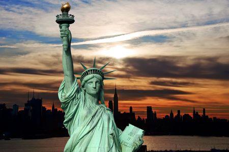 accommodation space:  new york early sunrise cityscape skyline silhouette, usa Stock Photo