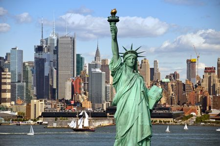 liberty: new york city old large sailing ship in hudson Stock Photo