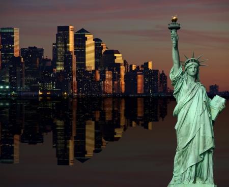 photo of new york cityscape skyline at night, nyc, usa