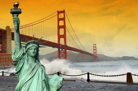 photo tourism concept san francisco and statue liberty photo