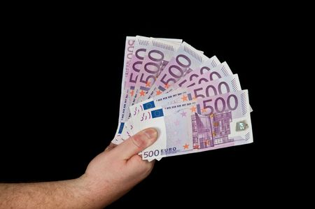photo of a male person with 500 euro in cash on black  photo