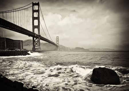 suspension bridge: photo beautiful b&w golden gate bridge in san francisco