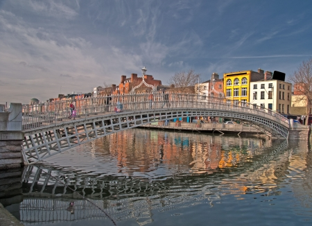 photo famous dublin landmark ha penny bridge ireland Stock Photo