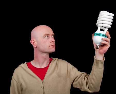 photo male holding a light bulb, business concept photo