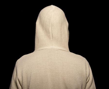 hooded sweatshirt: photo capture of male with hoodie on black Stock Photo