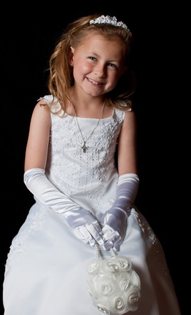 photo portrait of a young girl in a dress photo
