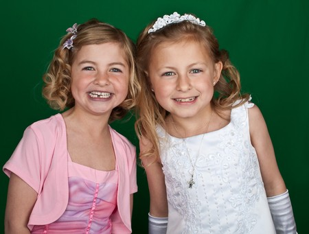 photo portrait of sisters in formal dress Stock Photo - 7011438