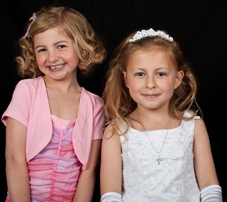 photo portrait of sisters in formal dress photo