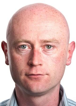 photo male portrait close up on white backdrop Standard-Bild