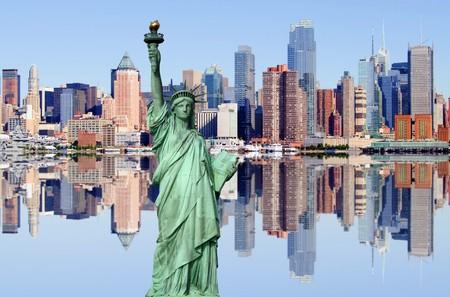 photo of new york city skyline over the hudson river photo