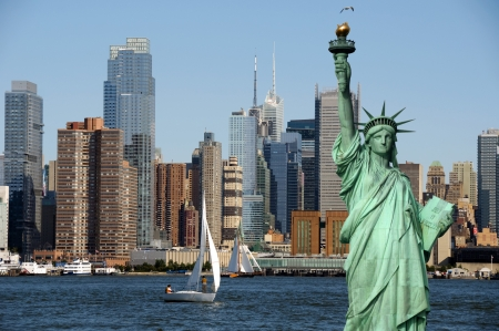 liberty: new york cityscape, tourism concept photograph