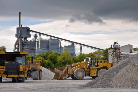 truckload: photo heavy large industrial stone quarry machinery Stock Photo