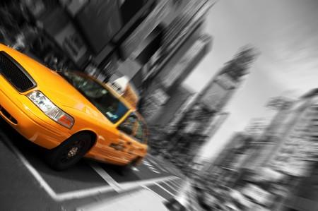 taxi: Foto Nueva York Taxi, desenfoque de movimiento de foco, Times Square
