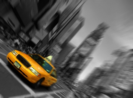 tourists stop: Photo New York City Taxi, Blur focus motion, Times Square