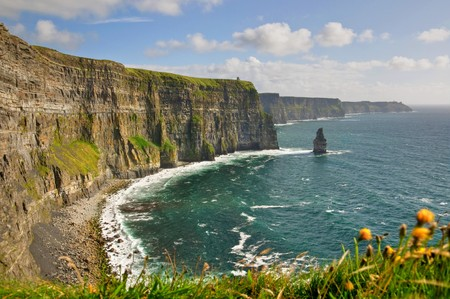 moher: famous cliffs of moher, castle tower, west coast of ireland