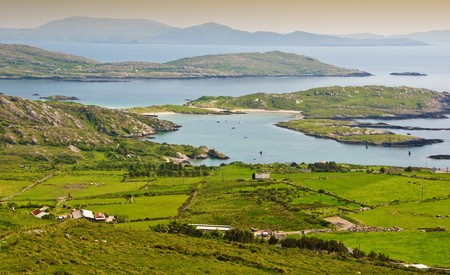 beautiful scenic rural landscape from ring kerry ireland photo