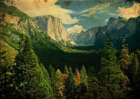 grunge photo yosemite national park, scenic landscape Stock Photo - 7613398