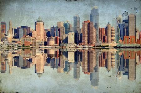 Foto Grunge New York City über Hudson River Skyline Standard-Bild - 7613386