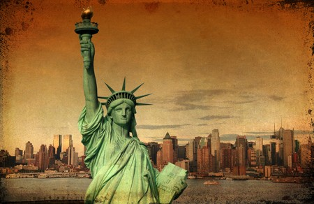 grunge new york city tourism concept with statue liberty