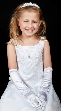 photo smiling young girl in white dress on black drop photo