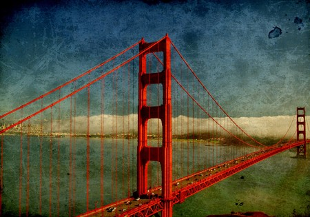 ca: photo grunge golden gate bridge, san francisco, ca, usa