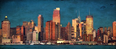grunge photo beautiful new york cityscape over the hudson photo