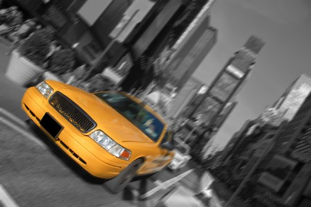 new york city times square, taxi motion blur photo