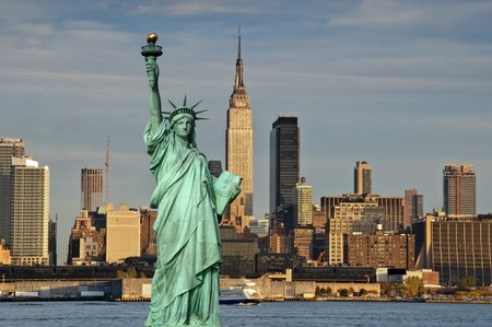 photo tourism concept new york city with statue liberty Stock Photo