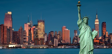 photo tourism concept new york city with statue liberty photo
