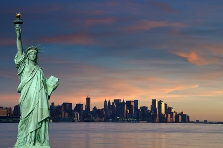 liberty statue: photo tourism concept new york city with statue liberty Stock Photo