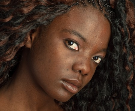 american sexy girl: photo beautiful portrait of a black african american on black