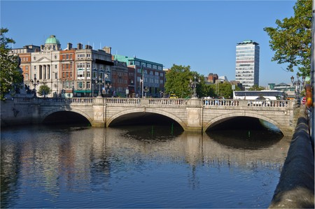 photo most famous bridge in ireland,oconnell bridge,dublin city centre Stock Photo