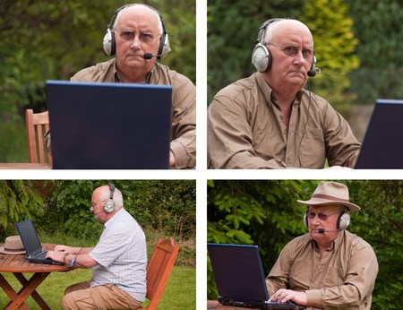 photo senior male outdoors on laptop with headphones photo
