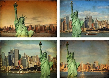 photo grunge new york city skyline statue liberty tourism concept photo