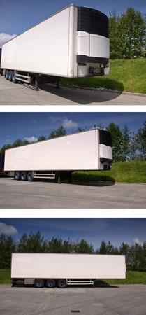 photo large white freight truck trailer outside