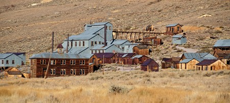 photo old mining ghost town in west america photo