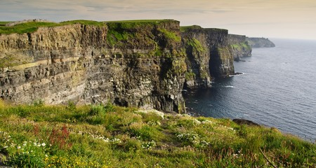 moher: evening sunset over famous cliffs of moher county clare, ireland Stock Photo