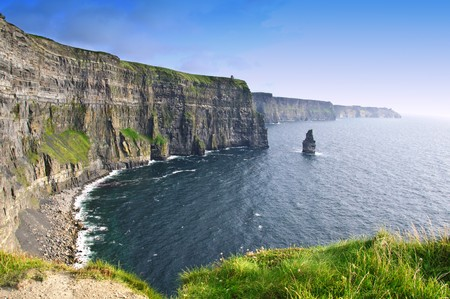 evening sunset over famous cliffs of moher county clare, ireland photo
