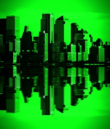 night vision: photo night green vision photograph new york downtown, nyc