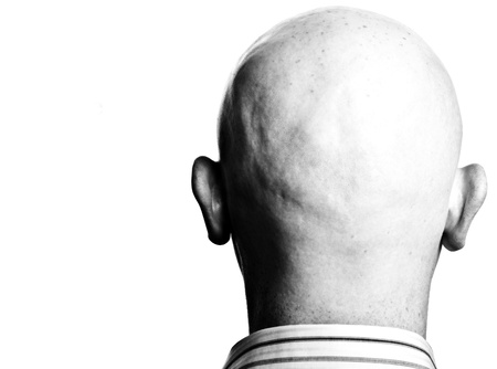 photo high contrast dark moody close up male shaved bald head photo