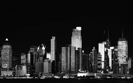 hudson river: photo beautiful b&w new york cityscape over the hudson Stock Photo
