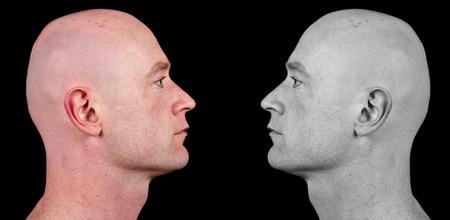 see side: photo shaved bald man side portrait