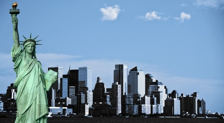 photo new york city skyline, downtown nyc, usa