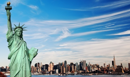 skyline nyc: foto de paisaje de horizonte de Nueva York de alto contraste
