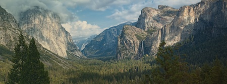 Photo Yosemite national park, el capitan mountain, panoramic scenic landscape. photo