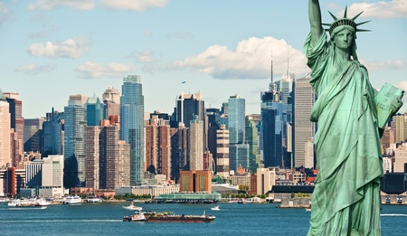statue of liberty: new york city tourism concept