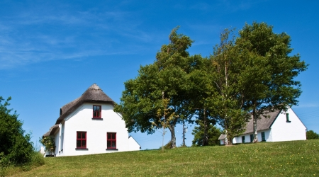 pretty rural countryside cottage in europe photo