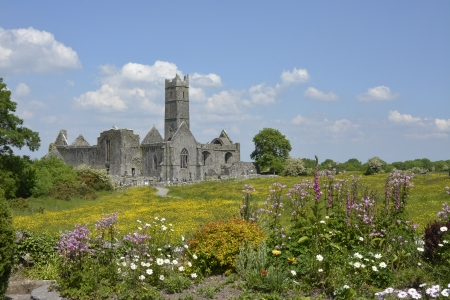 quin: famous irish landmark, quin abbey, county clare, ireland