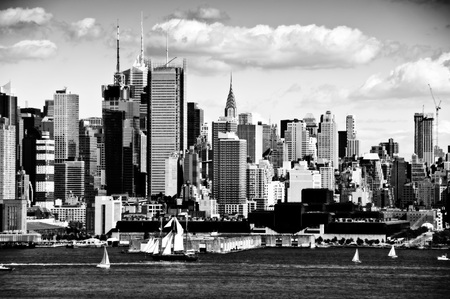 new york city panorama: photo new york city cityscape over hudson river Stock Photo
