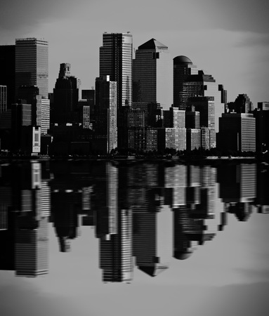 visions of america: photo night green vision photograph new york downtown, nyc
